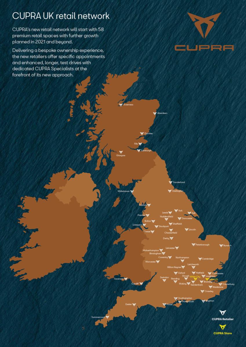 CUPRA UK retail map
