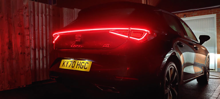 SEAT Leon rear of the car at night