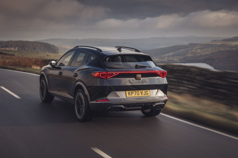 CUPRA Formentor VZ2 in black on a country lane