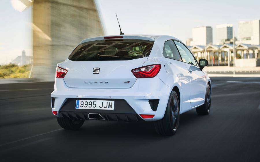 SEAT Ibiza CUPRA, exterior, dynamic shot, 3/4 rear view